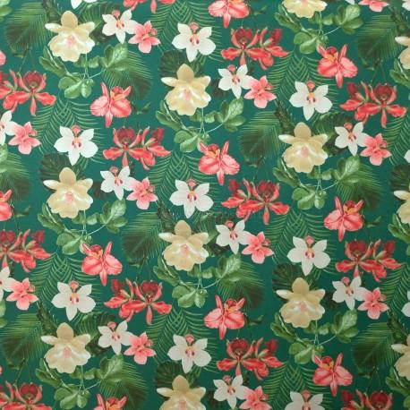 Tecido Gorgurão Waterblock Orquídeas Verde