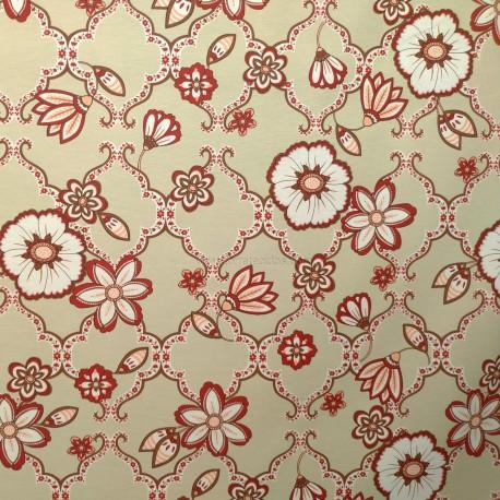Tecido Gorgurão Waterblock Arabesco Floral Vermelho