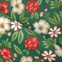Tecido Gorgurão Waterblock Hibisco e Rosas Verde